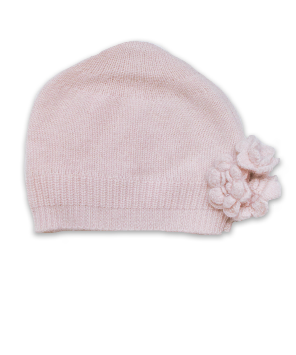 Cashmere Flower Hat in Pink