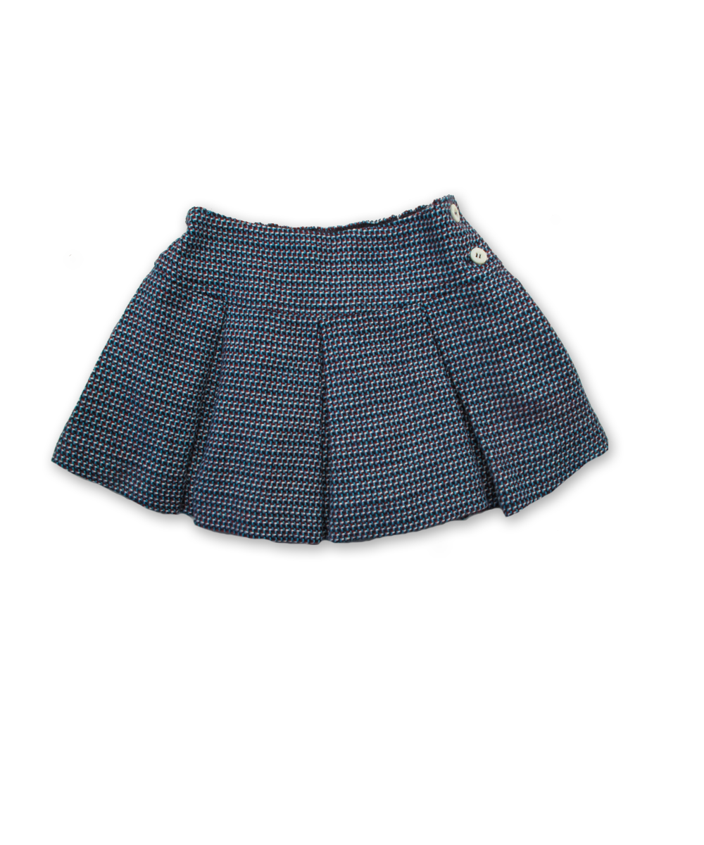 Pleated Skirt in Blue/Red Tweed