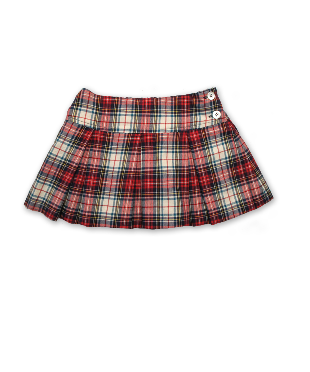 Pleated Skirt in White/Red Plaid