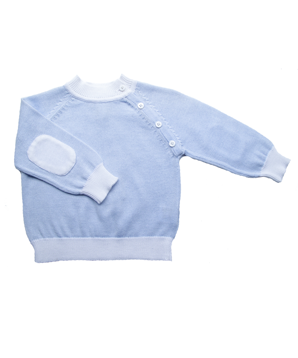 Sweater with Elbow Patches in Blue and White