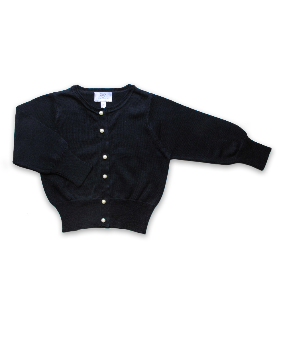 Girl's Luxury Cotton Cardigan with Pearl Buttons in Navy