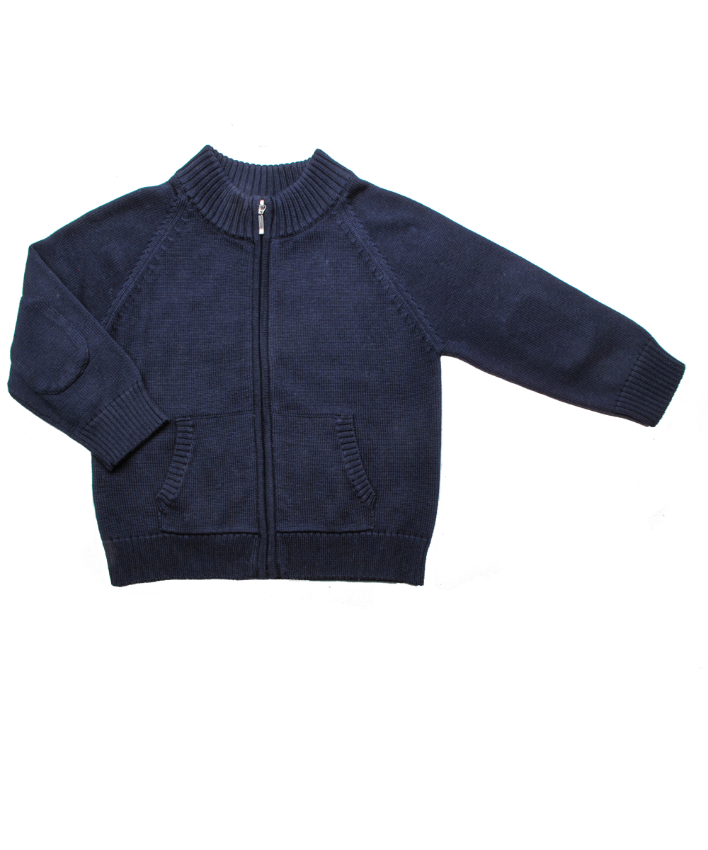 Luxury Cotton Zip Cardigan in Navy