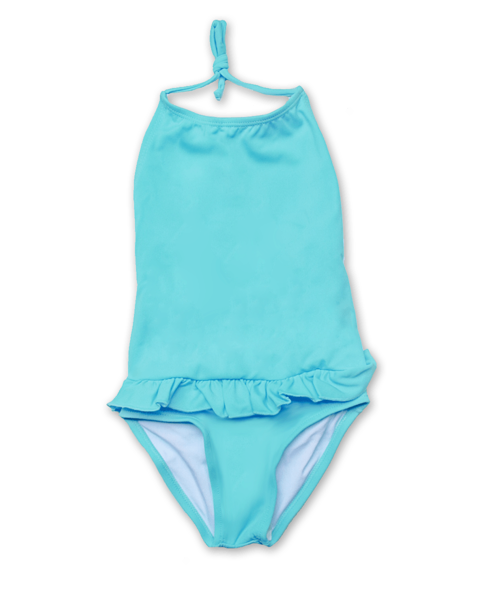Bathing Suit with Ruffle Skirt in aqua