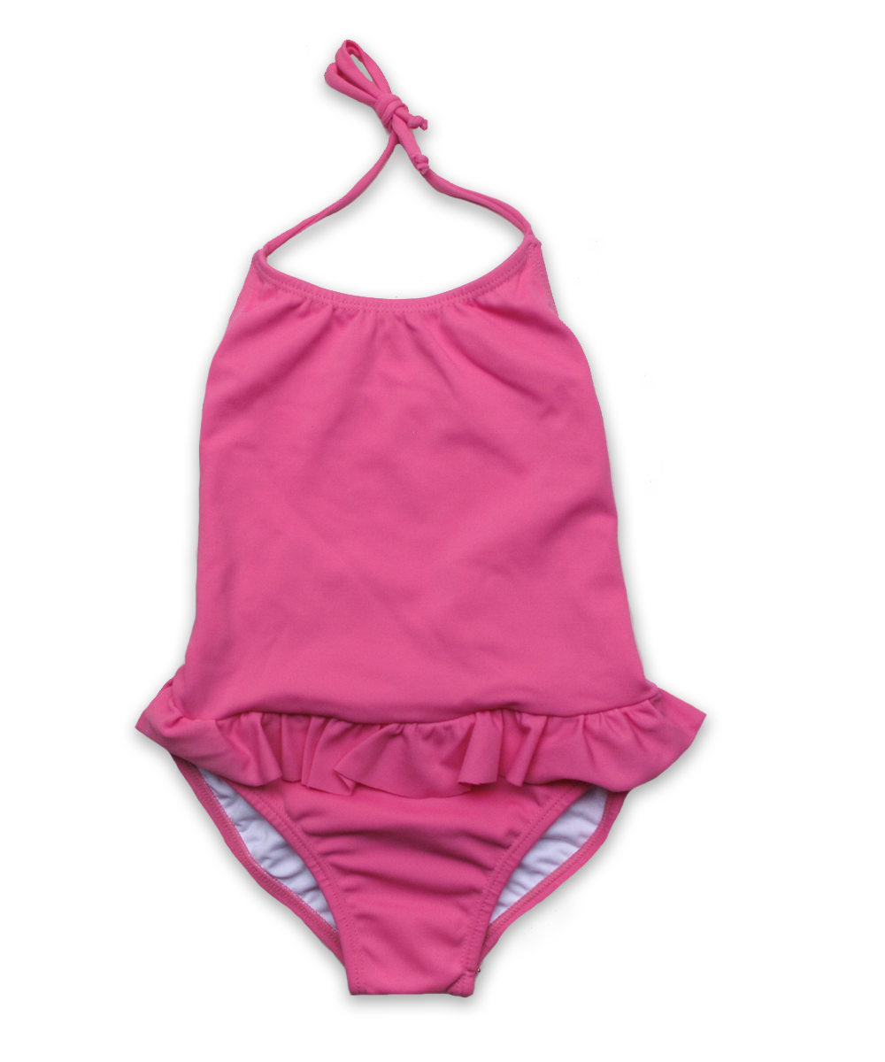 bathing suit with ruffle skirt in island pink