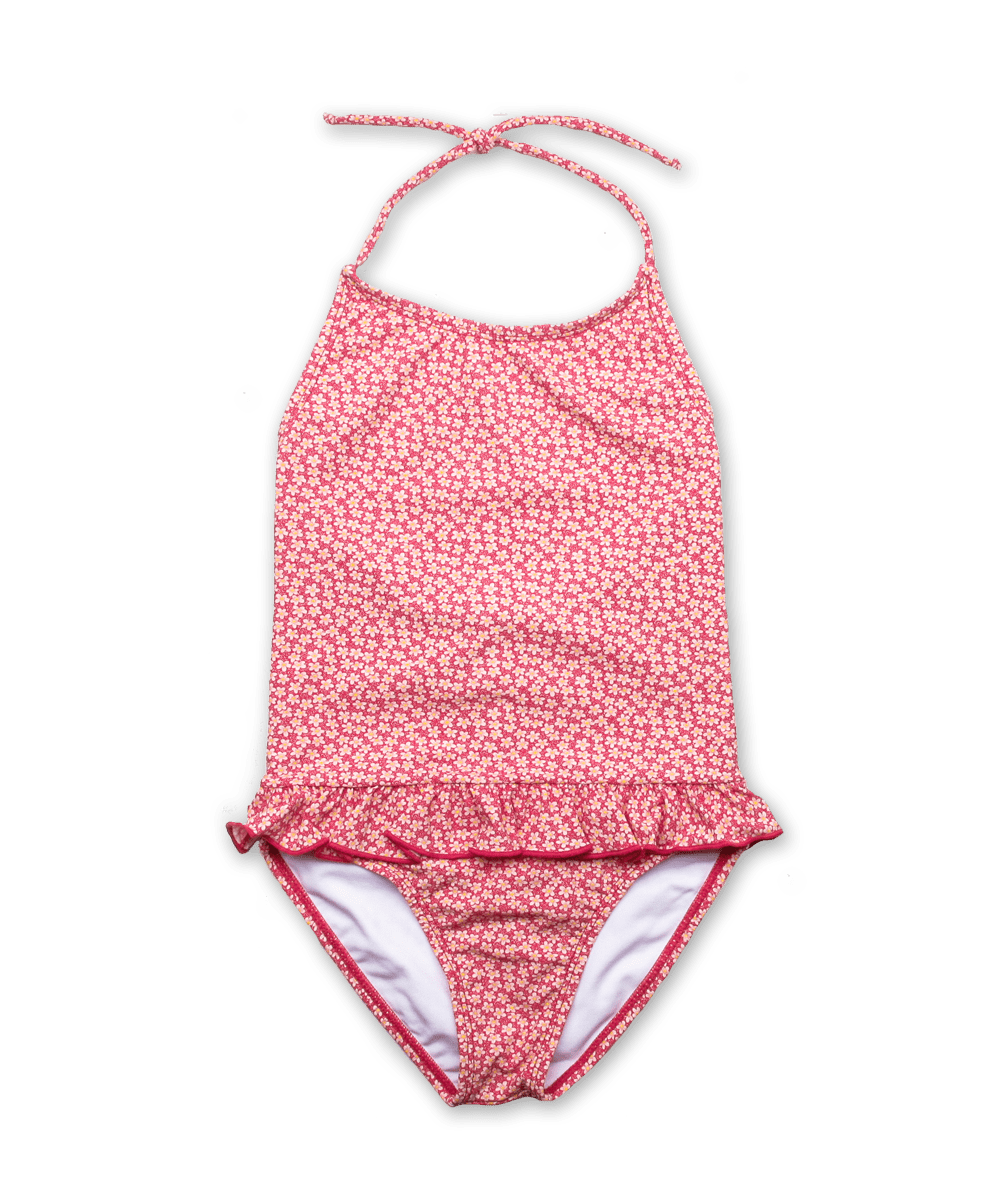 Bathing Suit w/ Ruffle Skirt in Liberty Speckle Pink
