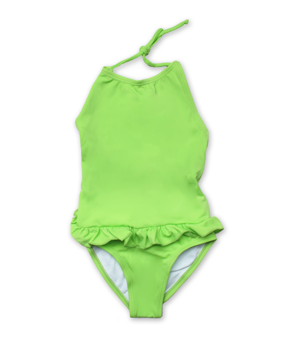 bathing suit with ruffle skirt in lime