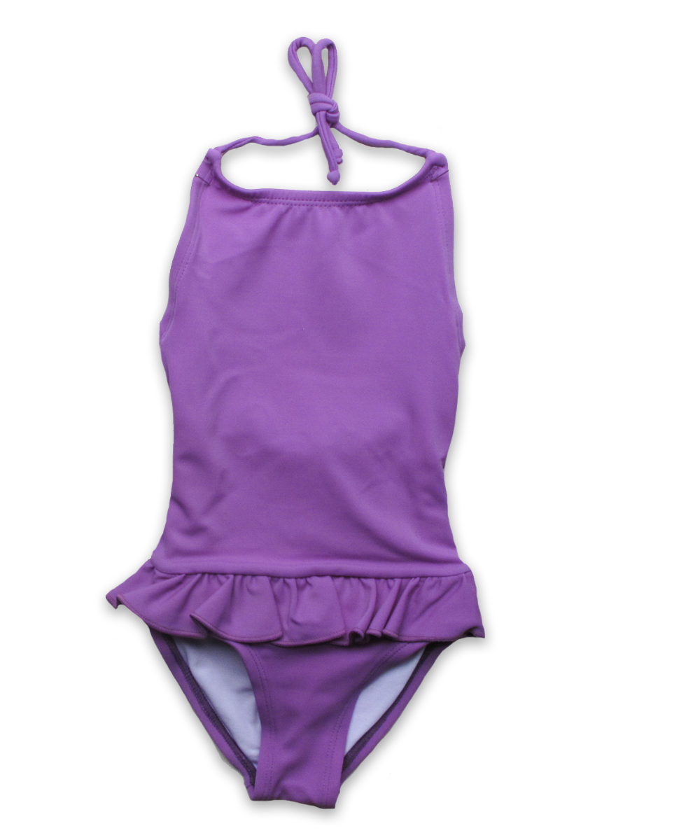 bathing suit with ruffle skirt in lavender