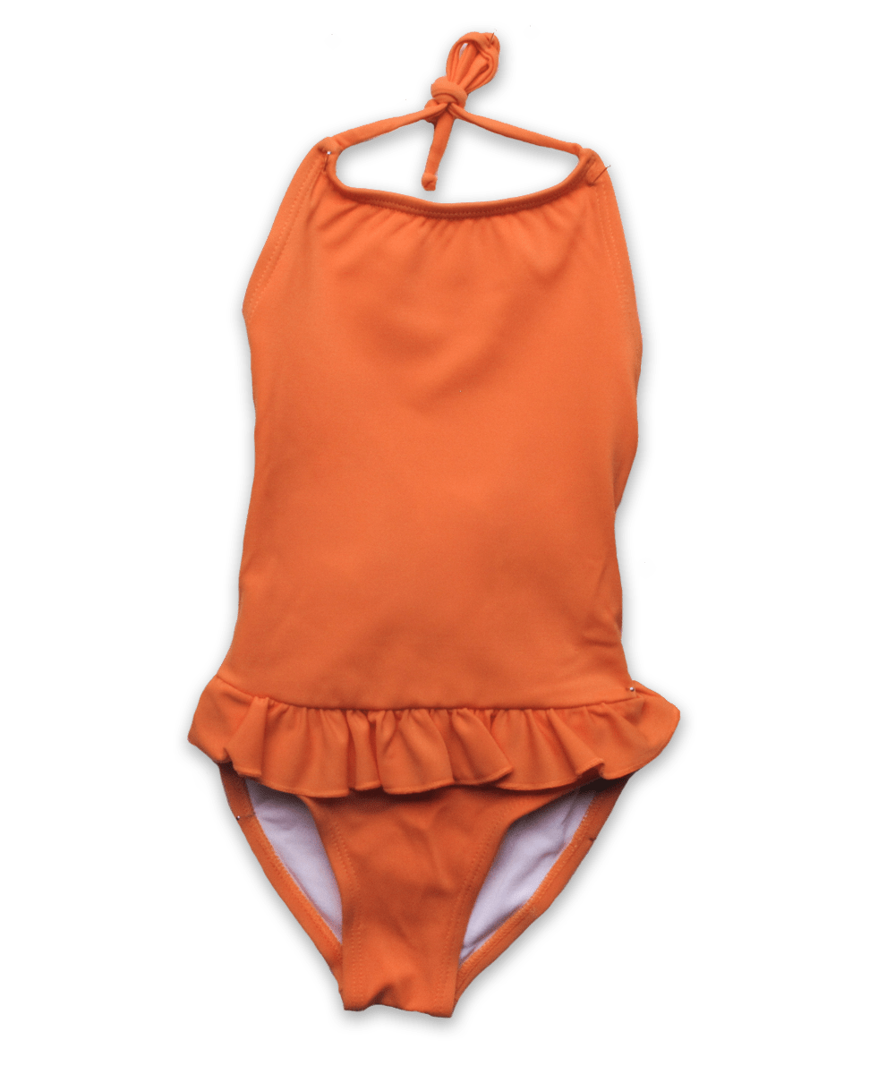 bathing suit with ruffle skirt in mandarin