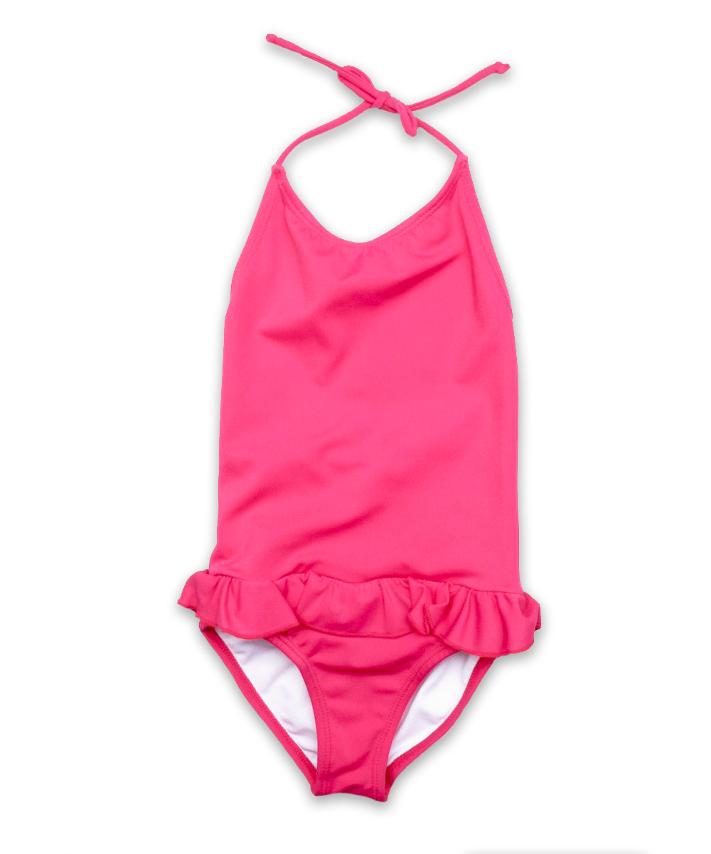 bathing suit with ruffle skirt in magenta