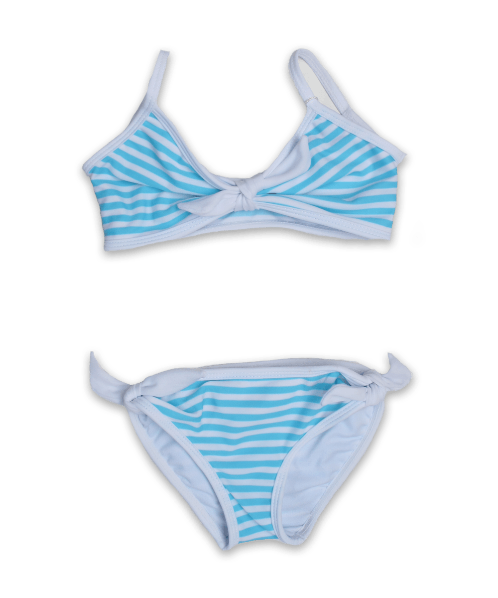 Striped Bikini with Tie in aqua/white