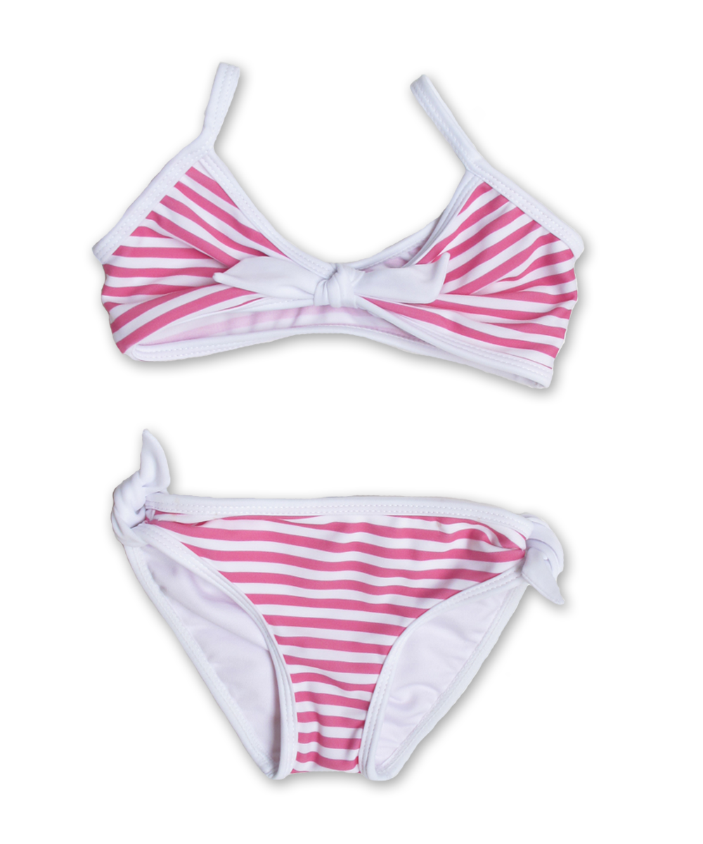 Striped Bikini with Tie in island pink/white