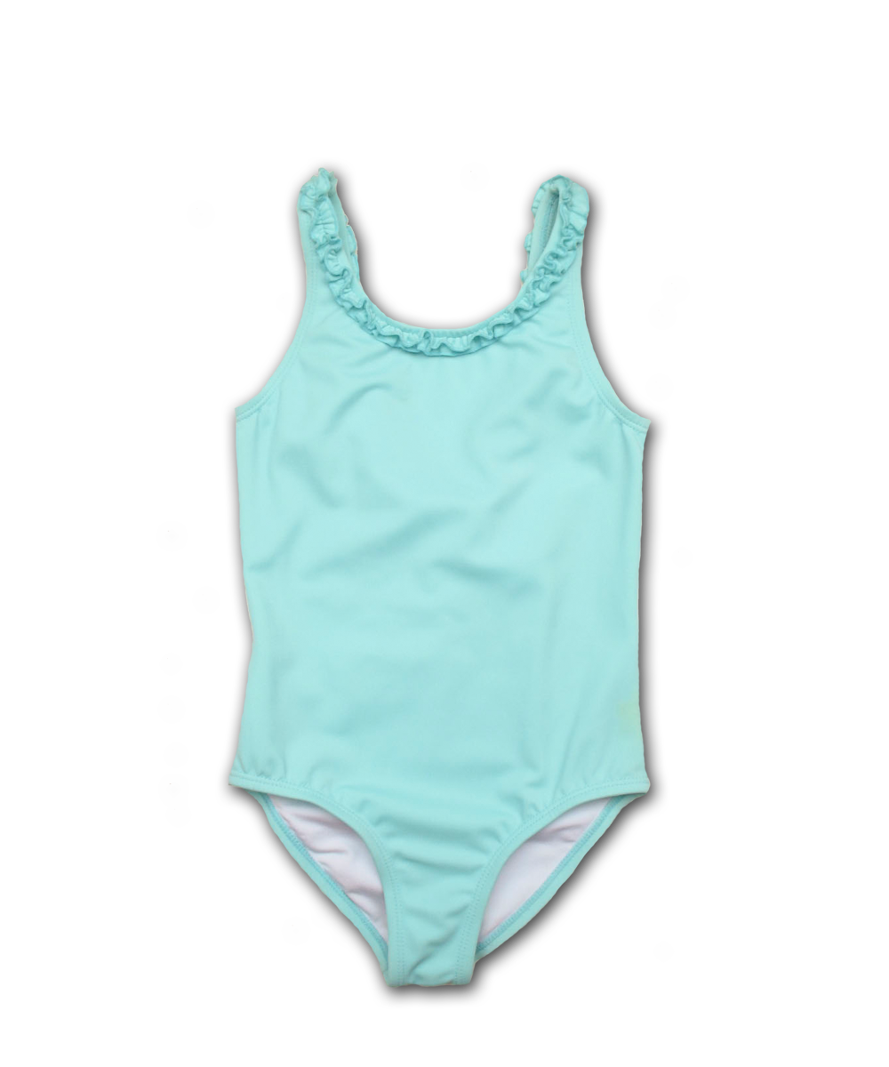 bathing suit with ruffle trim in aqua