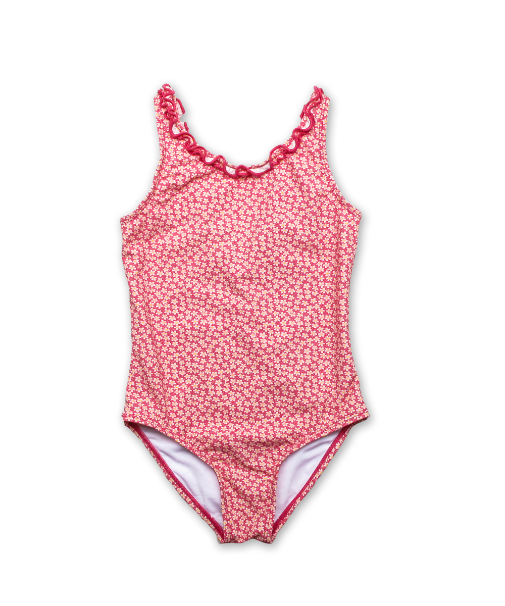 Bathing Suit w/ Ruffle Trim in Liberty Speckle Pink