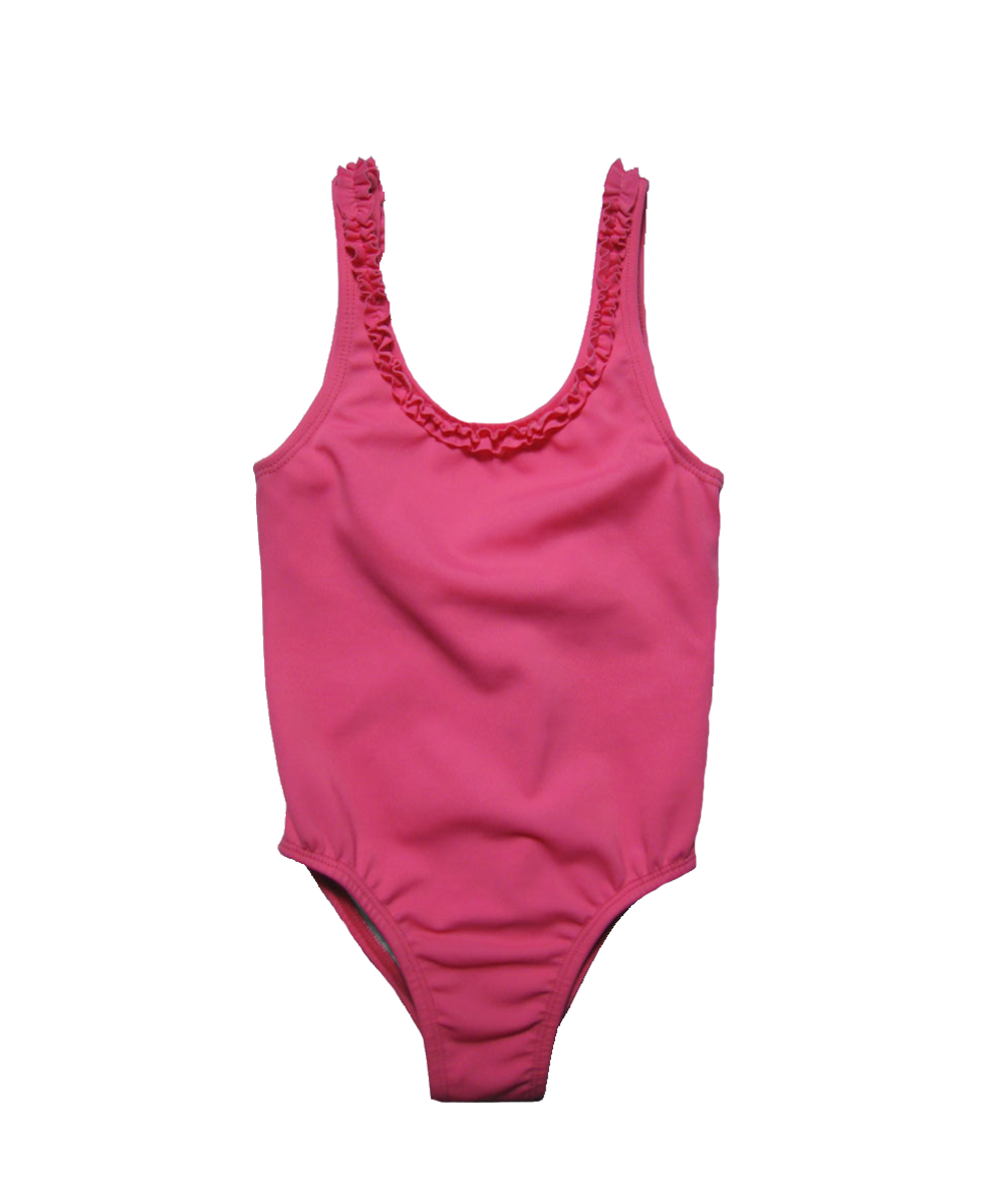 bathing suit with ruffle trim in magenta
