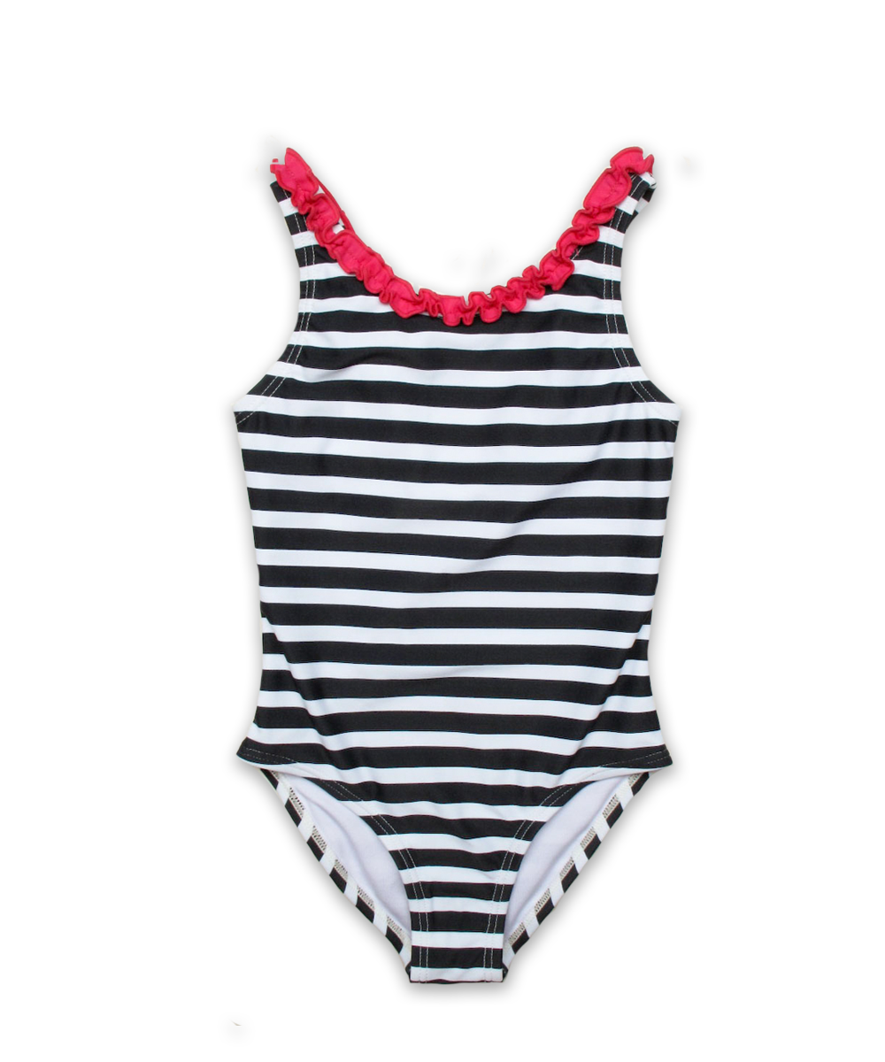 Nautical Striped Bathing Suit with Ruffle Trim in navy/magenta