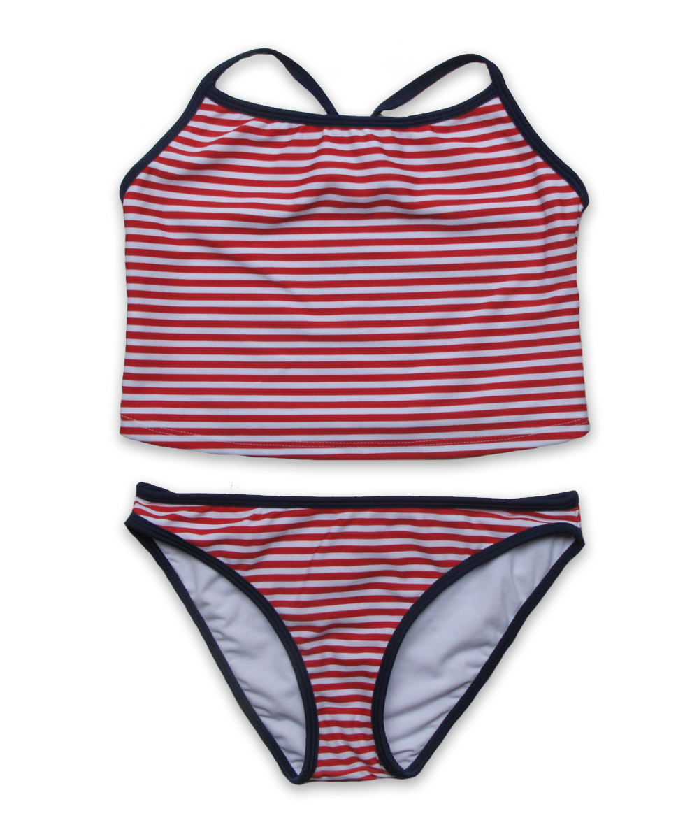 Tankini in Red Stripe/Navy