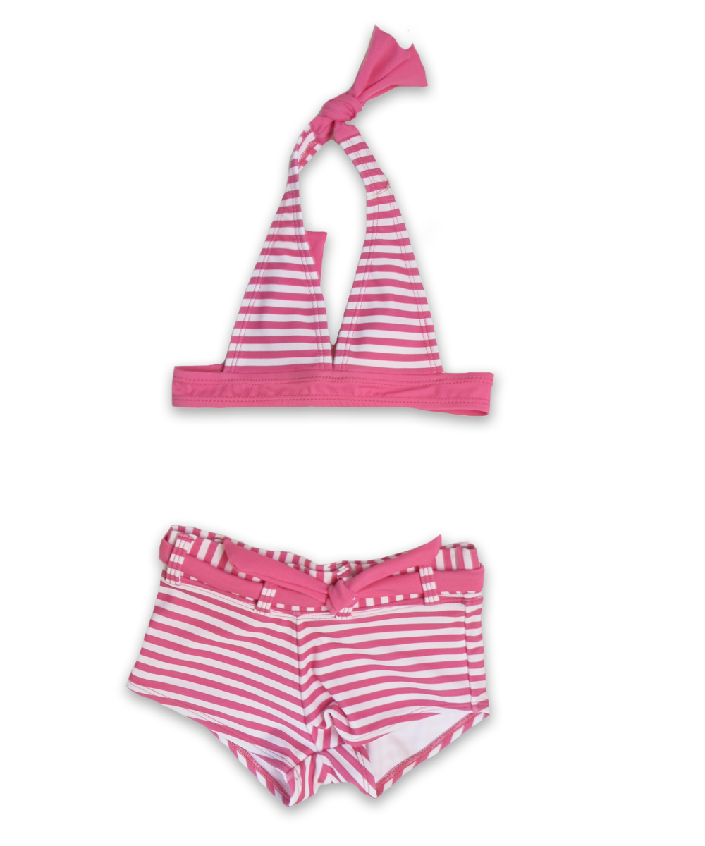 girls' striped halter bikini with boy short