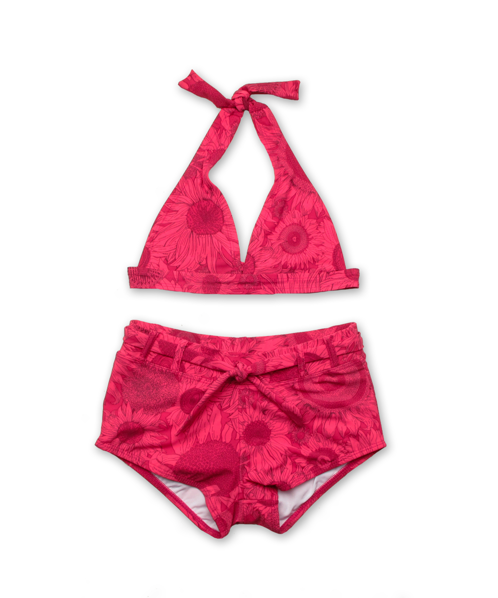 Halter Bikini with Boy Short in Liberty Susanna Magenta