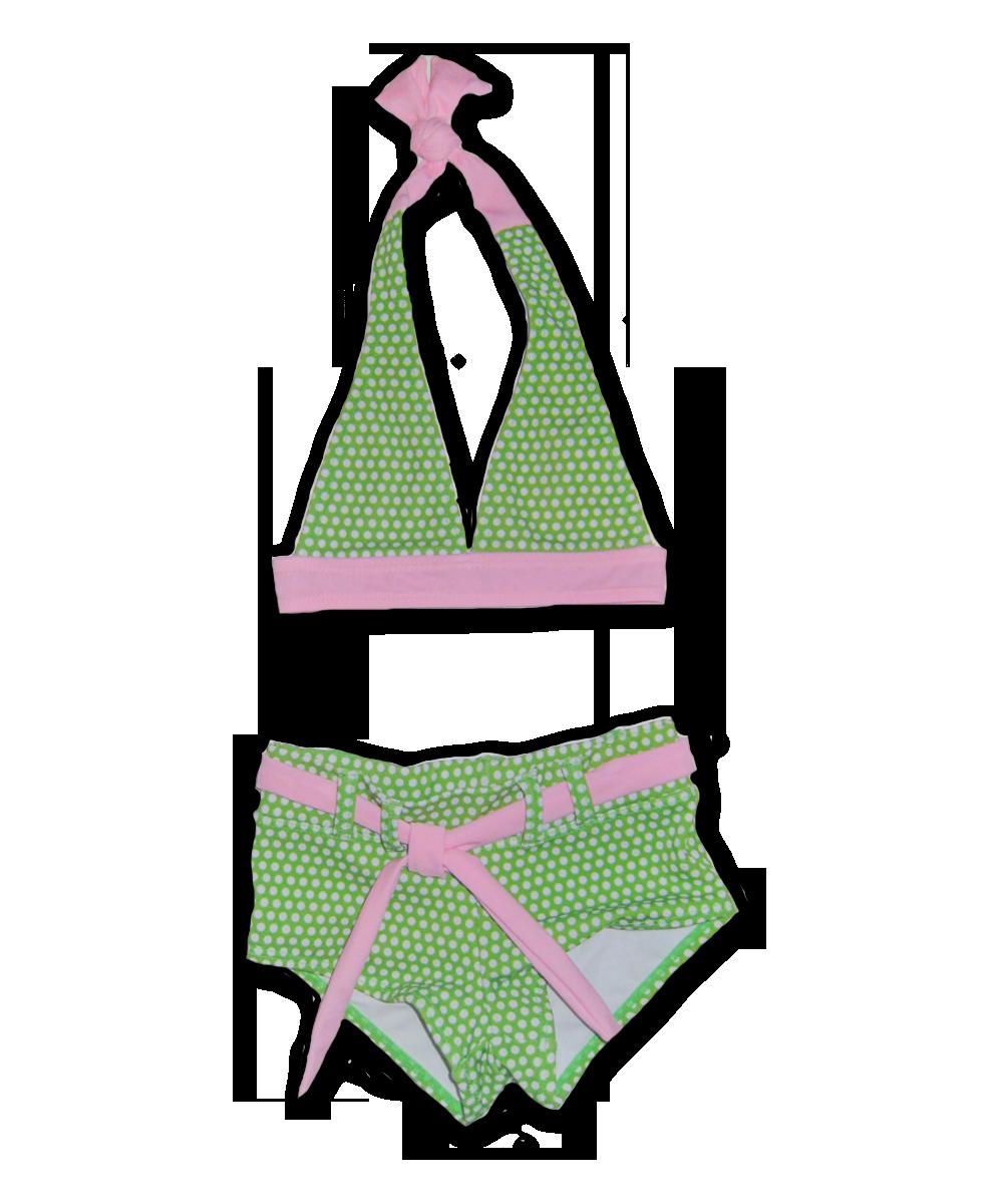 Halter Bikini in Lime Dot