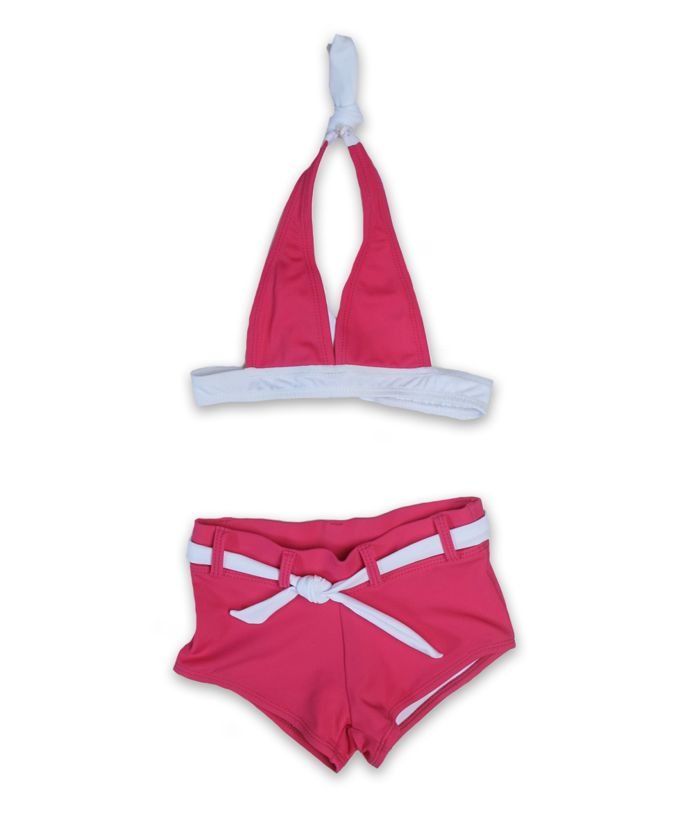 solid halter bikini with boy short, magenta