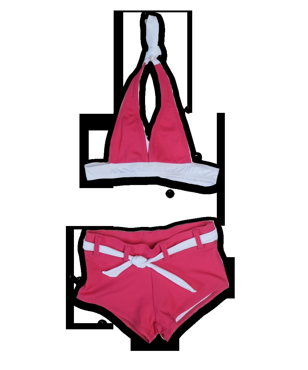 solid halter bikini with boy short, magenta