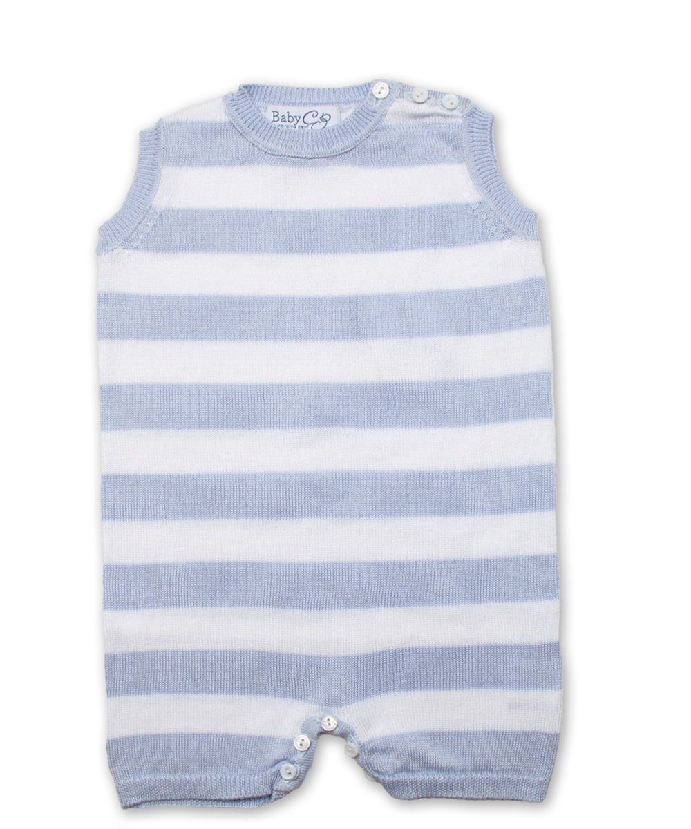 Tipped Striped Jumper w/Contrast in Blue/White