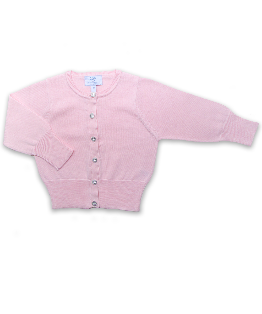 Cotton Cardigan with Crystal Buttons in Pink