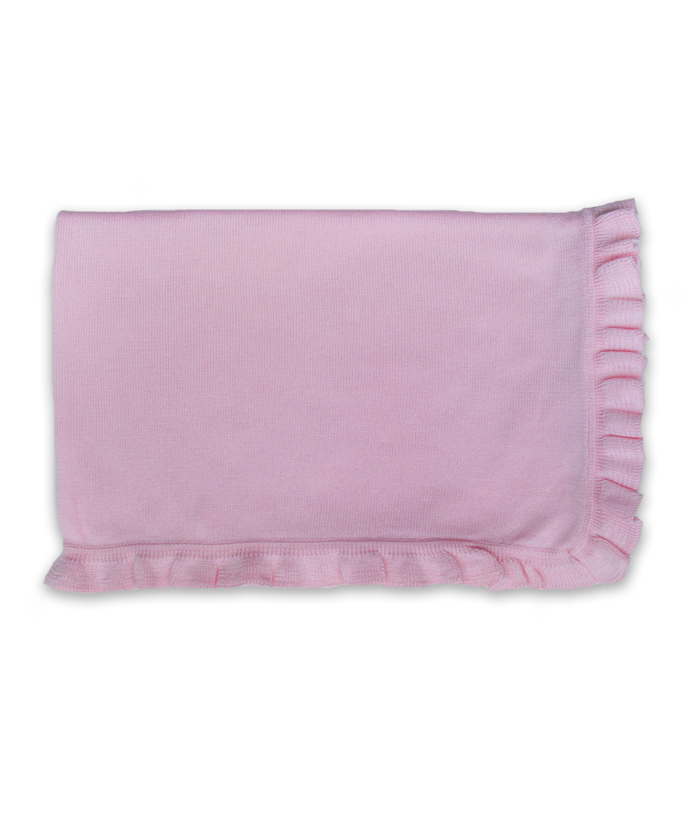 Baby Girl Luxury Cotton Blanket in Pink with Ruffle Trim