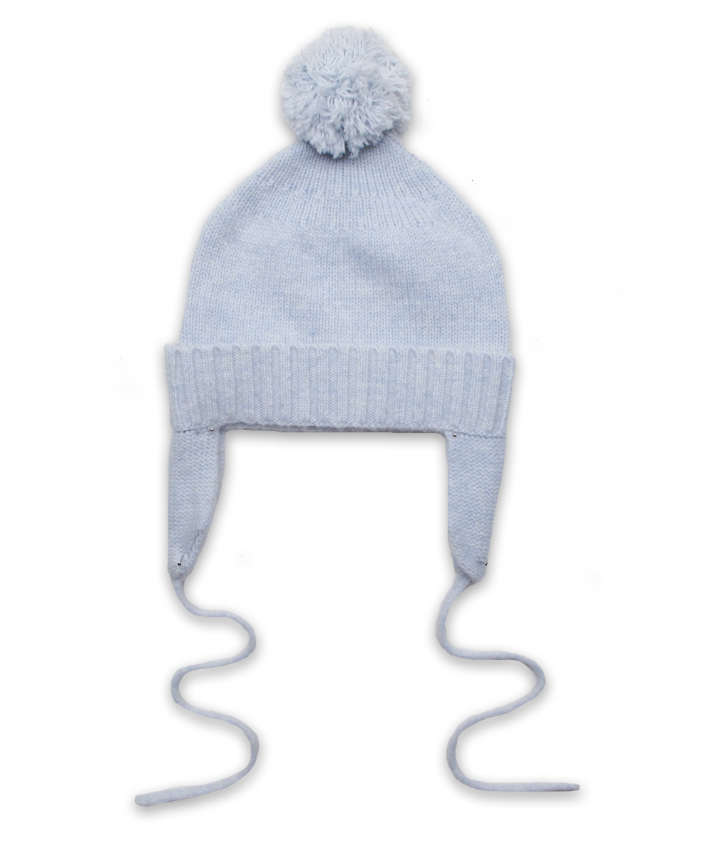 Cashmere Pom Hat in Blue