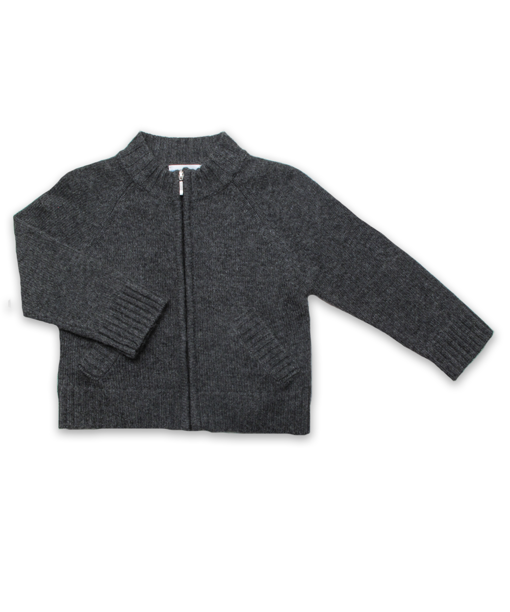 Cashmere Full Zip Sweater in Derby Gray
