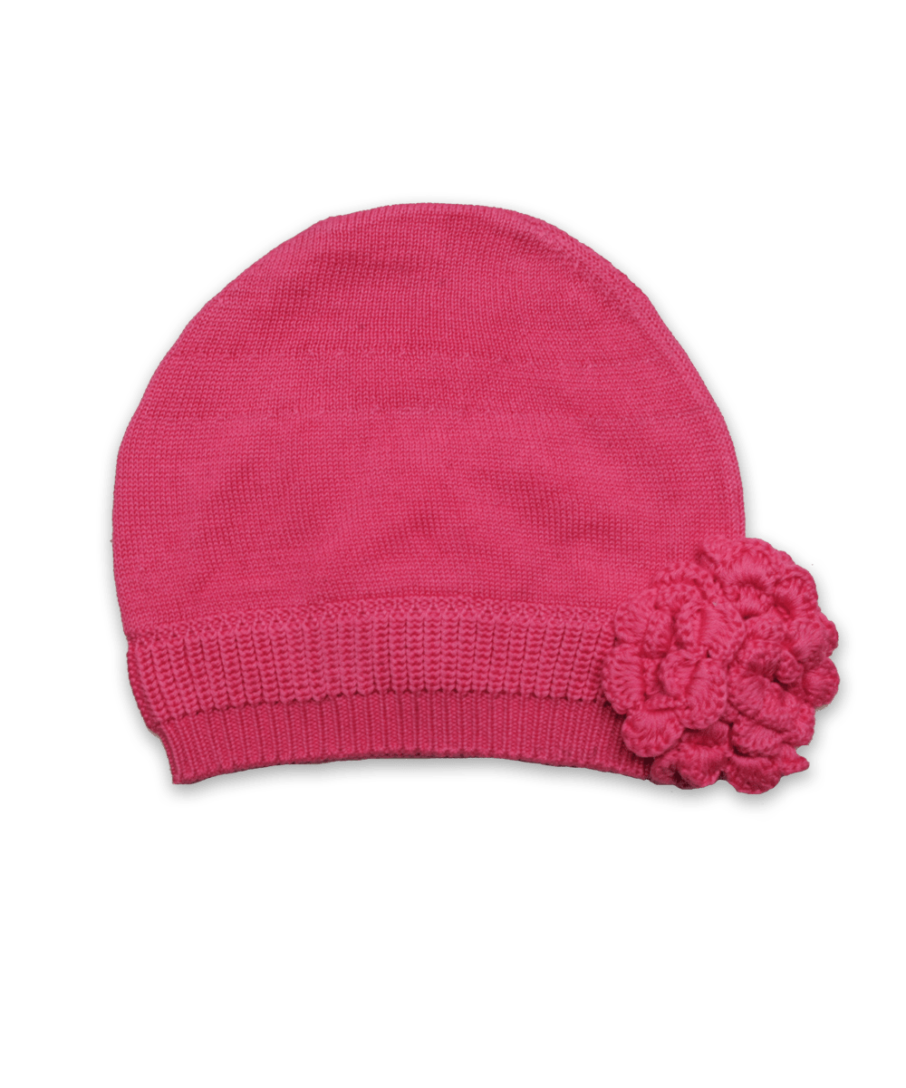 Cotton Knit Flower Hat in Raspberry