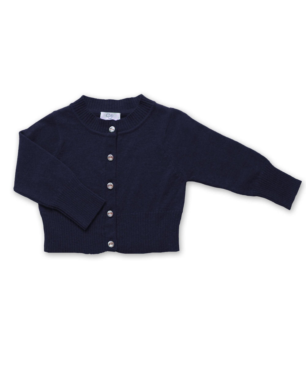 Cashmere Cardigan with Crystal Buttons in Navy