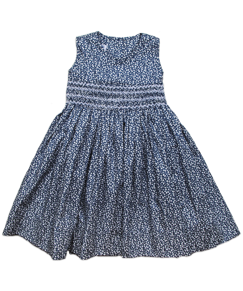 Camille Dress in Navy Ditsy Floral