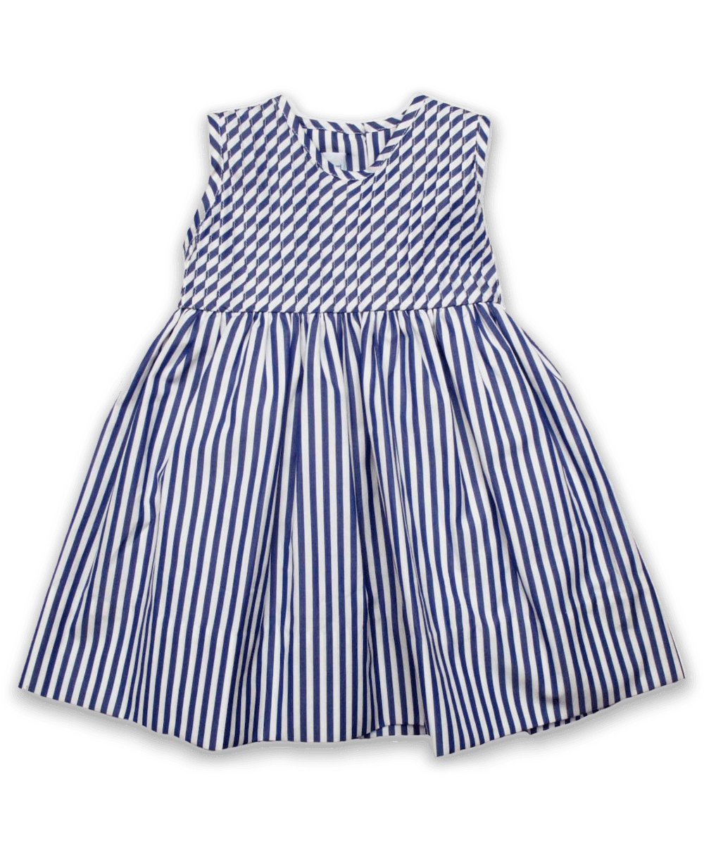 Vivienne Dress in Navy Stripe