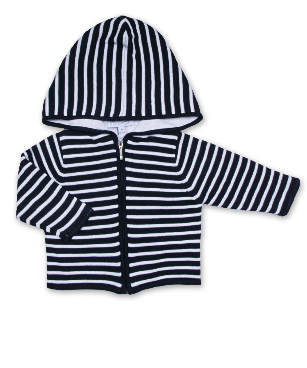 Striped Hoodie in Navy/White