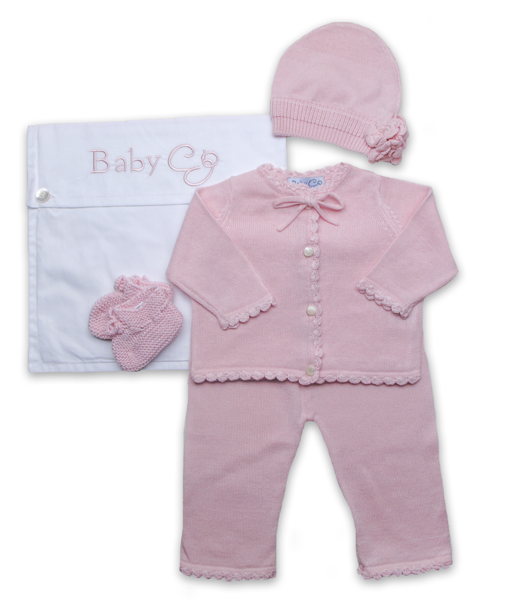 Crochet Layette Set w/flower hat in Pink