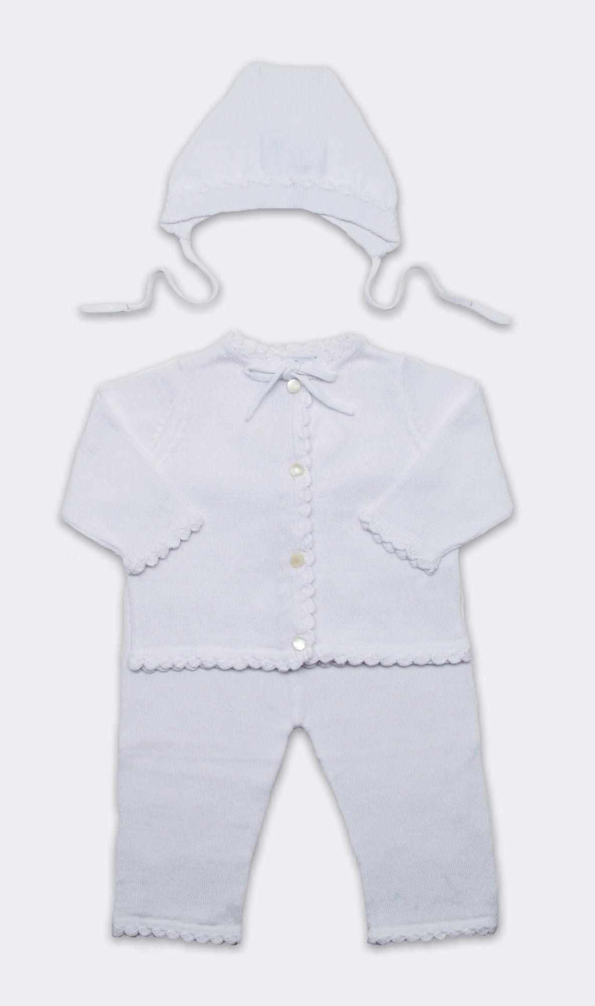 Cotton Crochet Layette Set in White