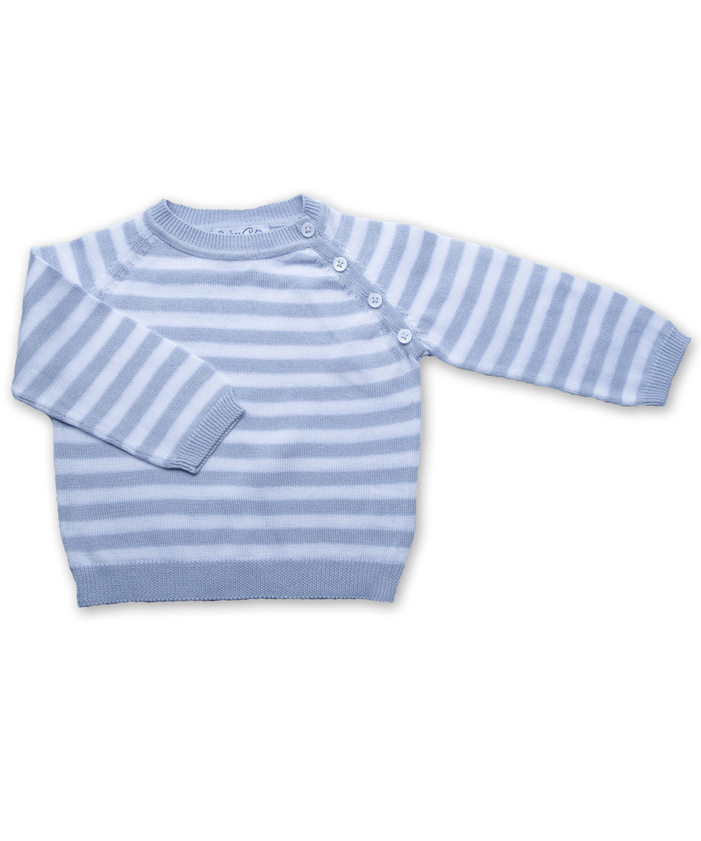 Striped Raglan Sweater in Blue/White