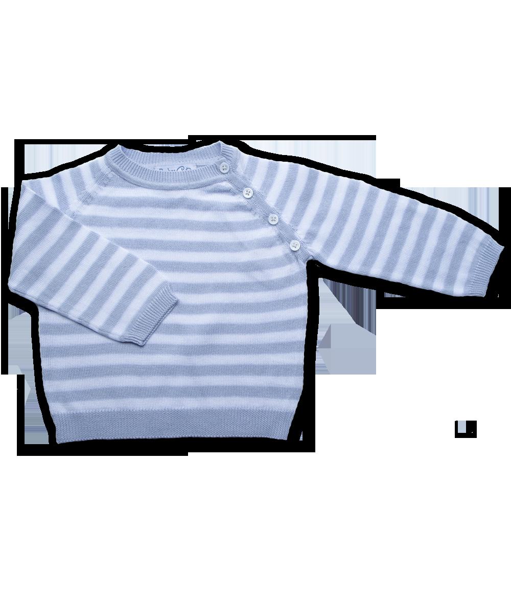 Striped Raglan Sweater in Blue/White