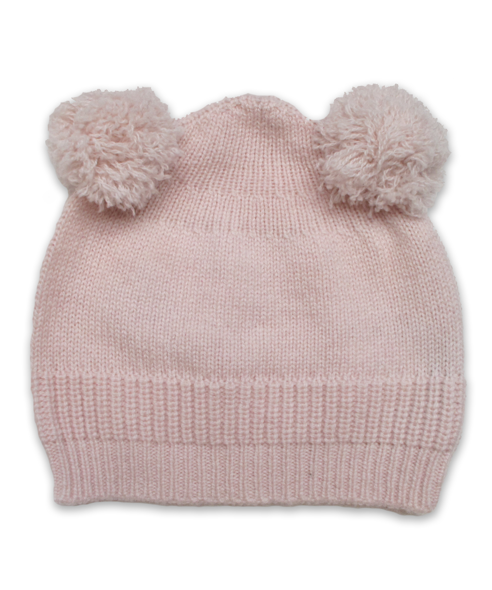 Cashmere Double Pom Hat in Pink