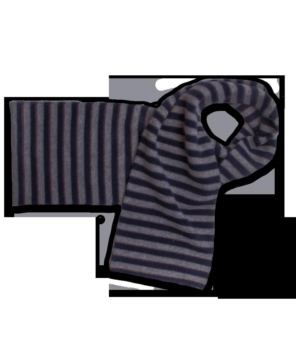 Striped Scarf Navy/Derby Gray