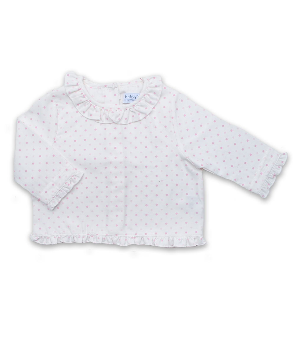 Ruffle Collar Blouse in Creme with Pink Dot