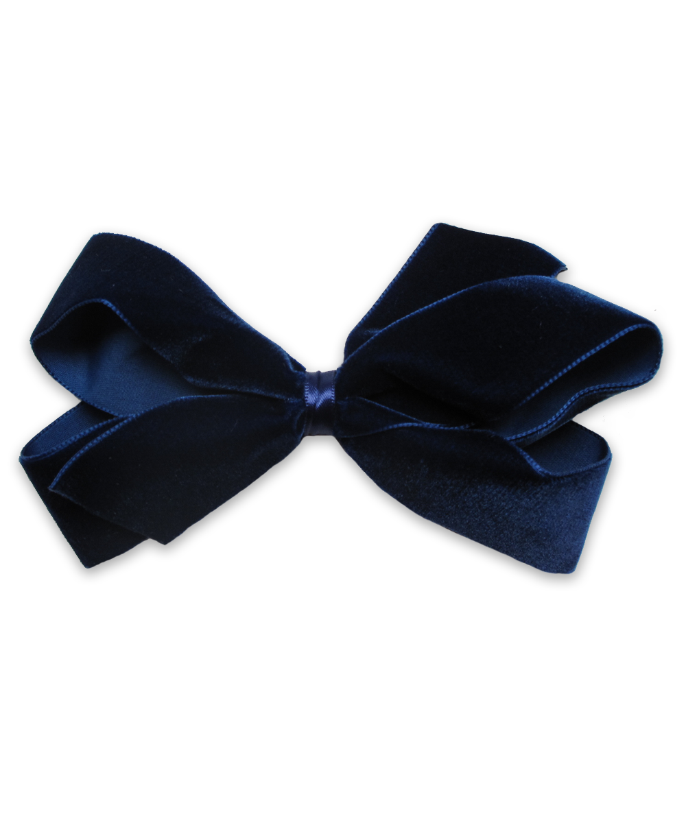 Large Velvet Bow in Navy