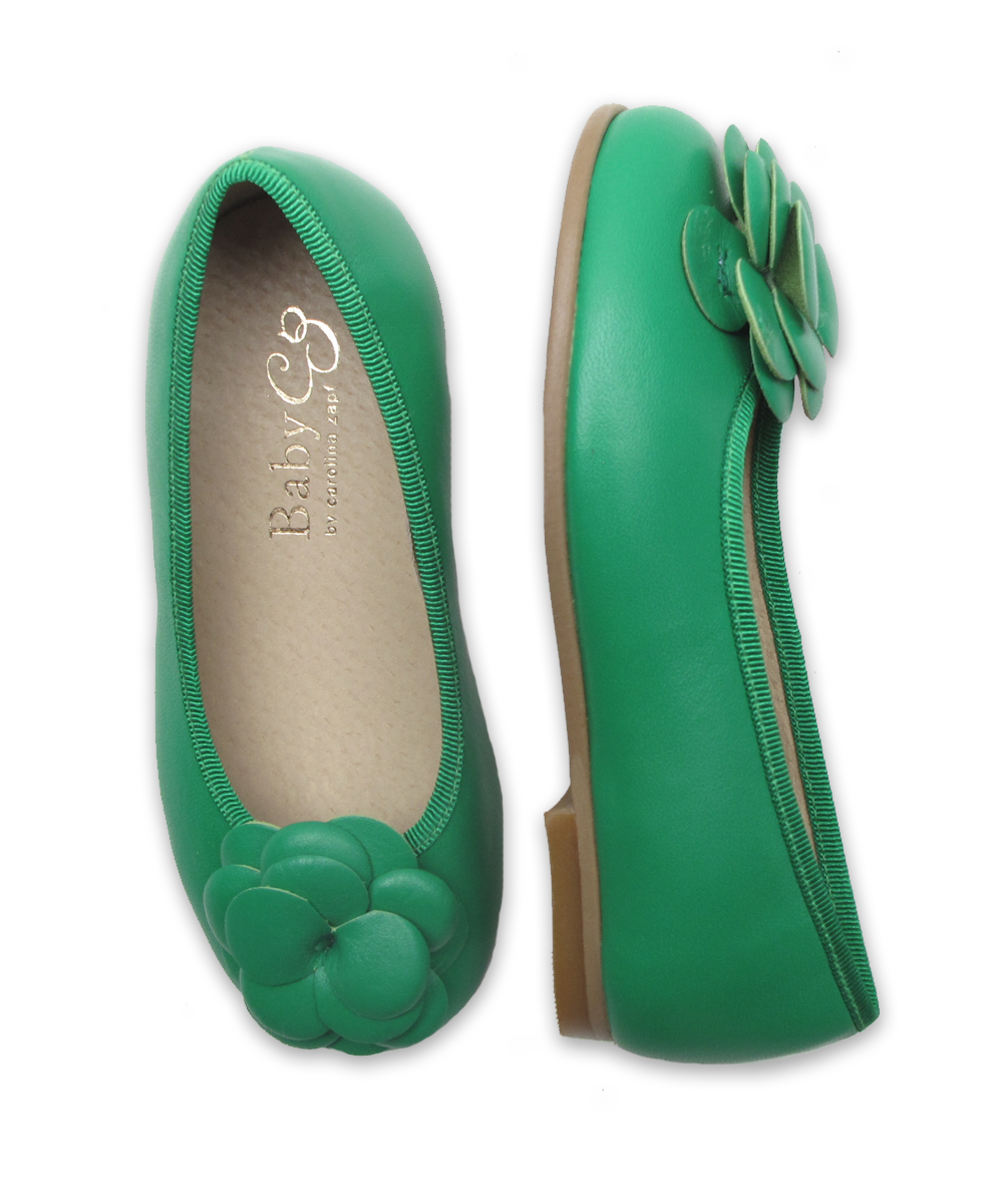 Girl's Ballerina Flat with Flower in Green