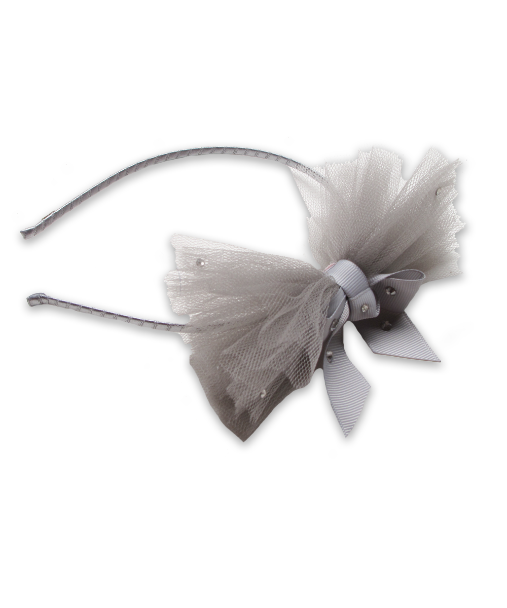 Tulle Bow Headband in Silver