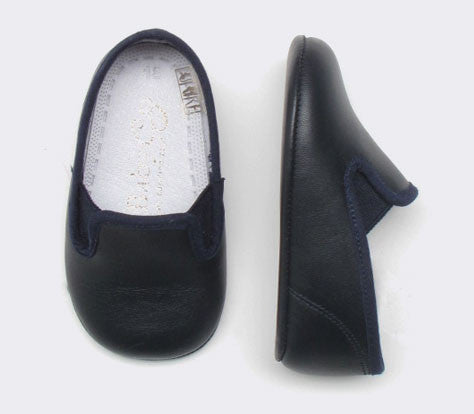 Baby Boy's Leather Crib Loafer in Navy